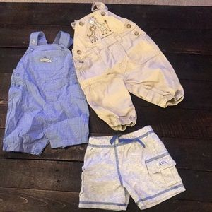 Lot of 3 boys overalls shorts 3 mon & 3-6